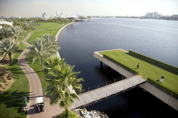 DUBAI - JANUARY 20:  The tee on the par 4, 6th hole at the Dubai Creek Golf and Yacht Club on January 20, 2009 in Dubai, United Arab Emirates.  (Photo by David Cannon/Getty Images)